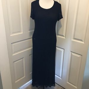 Vintage Black Lace Overlay Maxi Dress